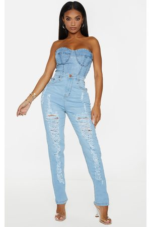PRETTYLITTLETHING Shape Light Wash Extreme Rip Skinny Jeans