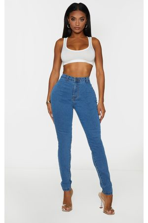 PRETTYLITTLETHING Shape Mid Wash Disco Skinny Jeans