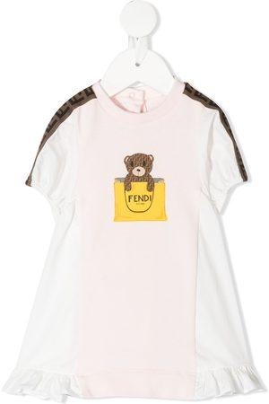 Fendi Ruffled bear print dress