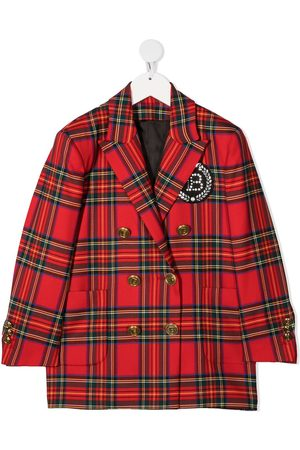 Balmain Embellished logo patch checked blazer