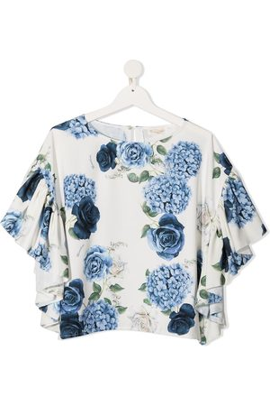 MONNALISA TEEN floral-print butterfly-sleeved blouse - Neutrals
