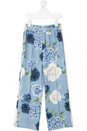 MONNALISA Floral print wide leg trousers