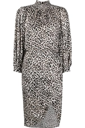 ALICE+OLIVIA Leopard-print draped-sleeve midi dress - Neutrals