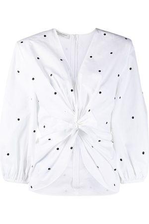 Serafini Polka-dot front-tie blouse