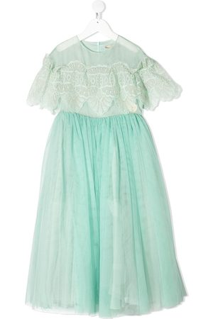 ELIE SAAB JUNIOR Tulle lace flounce gown