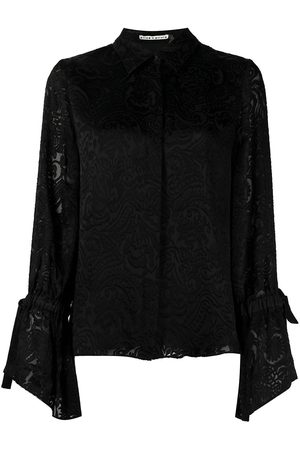 ALICE+OLIVIA Floral-embroidered long-sleeved blouse