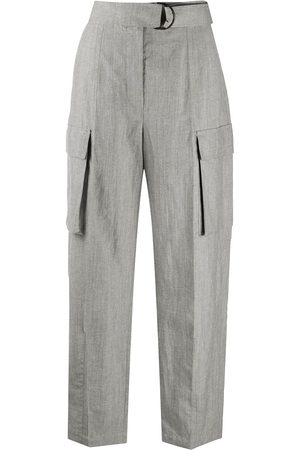 Brunello Cucinelli Cargo pockets high-waisted trousers - Grey