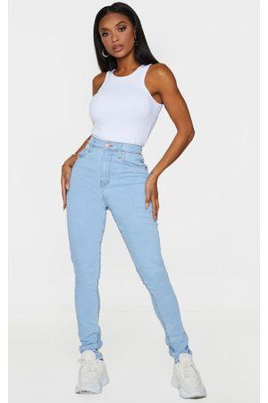 PRETTYLITTLETHING Women High Waisted - Shape Light Wash High Waist Super Stretch Denim Jeans