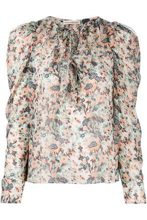 ULLA JOHNSON Astrid ruffled floral-print blouse - Neutrals