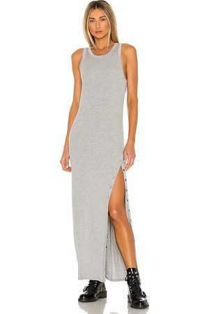 LA Made Women Maxi Dresses - Cabana Side Snap Maxi Dress in Grey.