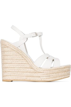 Saint Laurent Tribute 85mm leather espadrille wedges