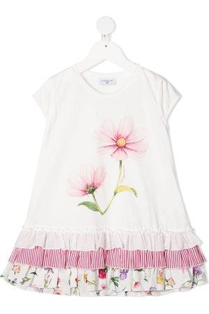 MONNALISA Floral print ruffled hem tunic top
