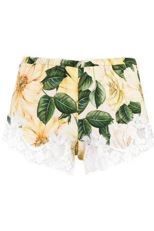 Dolce & Gabbana Camellia-print lace detail shorts - Neutrals