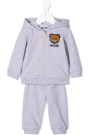 Moschino Toy-embroidered hooded tracksuit - Grey