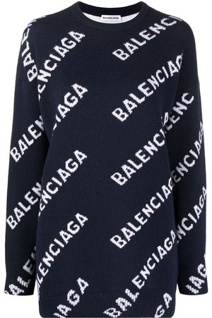 Balenciaga Repeat-logo intarsia-knit jumper