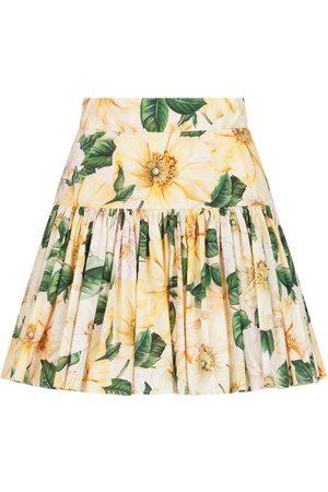 Dolce & Gabbana Floral-print mini skirt - Neutrals
