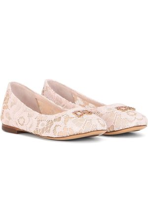 Dolce & Gabbana Logo-plaque lace-detail ballerina shoes
