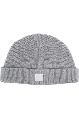 Acne Studios Face-patch knitted beanie - Grey
