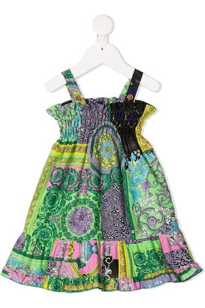 VERSACE Baby Casual Dresses - Mix-print ruffle-trim dress