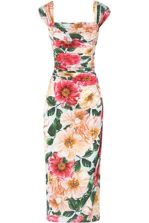 Dolce & Gabbana Women Printed Dresses - Floral-print midi dress