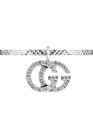 Gucci 18kt white gold diamond GG Running ring