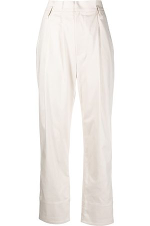 Brunello Cucinelli Women Pants - Cropped high-waisted trousers - Neutrals