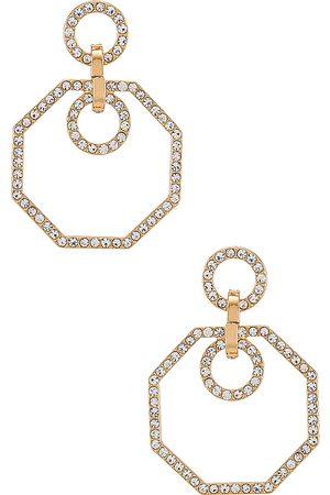 Ettika Crystal Drop Earrings in Metallic .