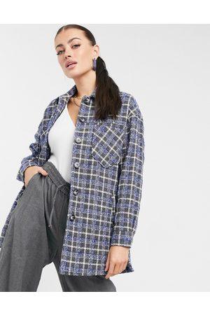 Helene Berman Wool blend shacket in plaid-Blues