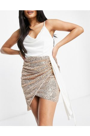 Jaded Rose Drape cami 2-in-1 sequin skirt dress in white and gold-Multi