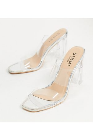 Simmi Wide Fit Simmi London Wide Fit Heidi double strap mules with toe plating in