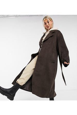 COLLUSION Longline brushed faux wool coat in