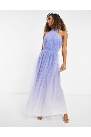 Chi Chi London High neck ombre maxi dress in blue-Blues