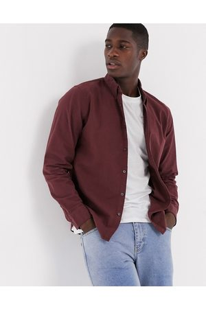 Abercrombie & Fitch Signature moose logo long sleeve shirt in burgundy