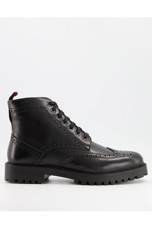 WALK LONDON Sean chunky brogue boots in leather