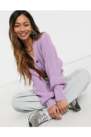 Glamorous Cropped knit cardigan with balloon sleeves in lilac