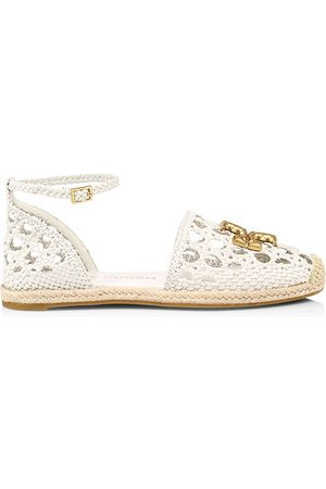 Tory Burch Women's Eleanor Woven Leather d'Orsay Espadrille Sandals - New Ivory - Size 9.5