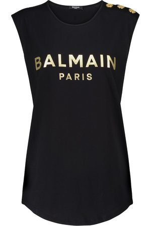 Balmain Women Tank Tops - Logo cotton tank top
