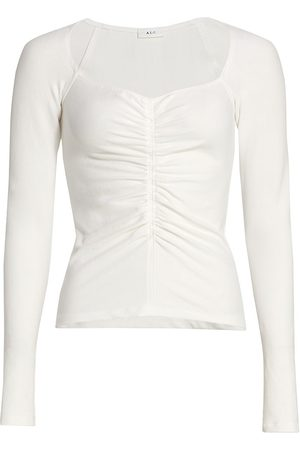A.L.C. Women Long Sleeve - Women's Halley Ruched Long-Sleeve T-Shirt - - Size Medium