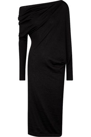 Tom Ford Women Strapless Dresses - Cashmere and silk off-shoulder midi dress
