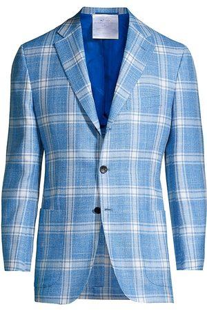Kiton Men's Plaid Cashmere, Silk & Wool-Blend Suit Jacket - Light - Size 56 (46) R