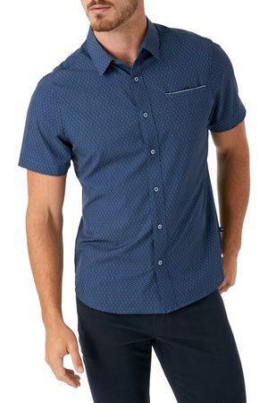 7 Diamonds Men's Digital Dash Performance Short Sleeve Button-Up Shirt