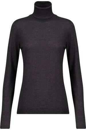 Brunello Cucinelli Women Turtlenecks - Metallic cashmere-blend turtleneck sweater