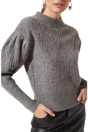 ASTR Women's Puff Sleeve Cable Sweater