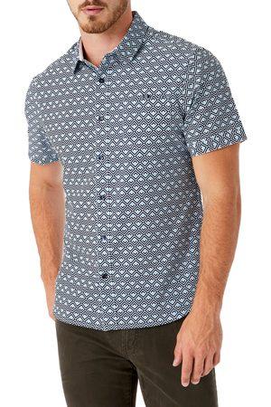 7 Diamonds Men's Geo Print Short Sleeve Button-Up Performance Shirt