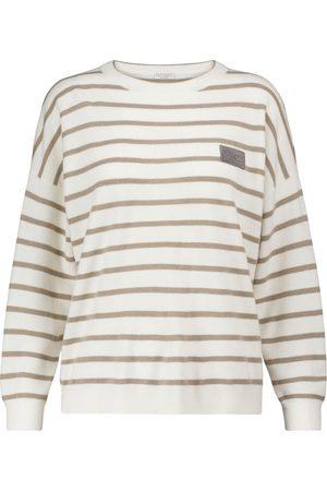 Brunello Cucinelli Women Sweaters - Striped wool-blend sweater