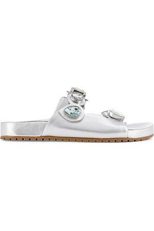SOPHIA WEBSTER Women's Ritzy Embellished Metallic Leather Slides - Pst - Size 40 (10) Sandals