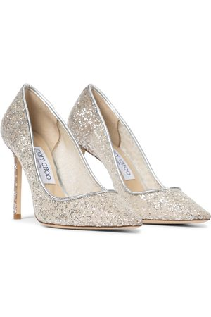 Jimmy Choo Romy 100 mesh glitter pumps