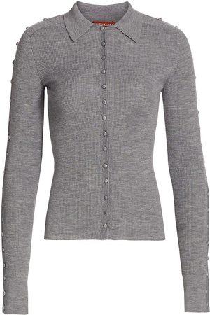Altuzarra Women's Hill Button-Front Wool & Cashmere Sweater - Ash - Size XL
