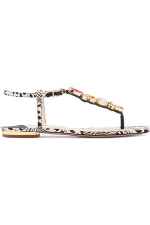 SOPHIA WEBSTER Women's Ritzy Embellished Butterfly-Print Thong Sandals - - Size 41 (11)