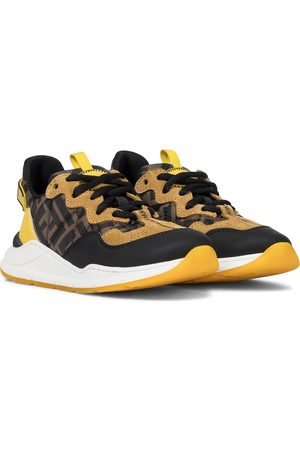 Fendi FF suede and leather-trimmed sneakers